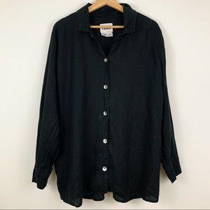 FLAX 100% Linen Button Down Tunic Shirt Sz L Black